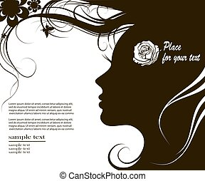 woman silhouette with space for text - Vector illustration...