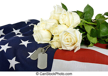 military dog tags and rose - Military dog tags and white...
