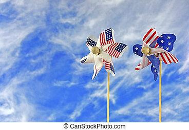 patriotic flag pinwheel - Pair of patriotic flag pinwheel on...