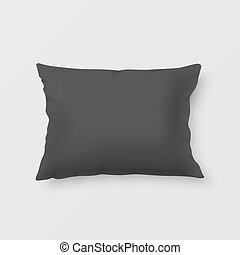Realistic vector pillow - Close-up realistic black pillow....