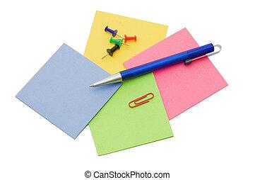 anteckna, penna, vit, isolerat, bakgrund
