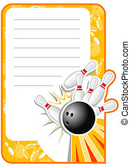 Blank Bowling Invitation in retro style with Copy Space