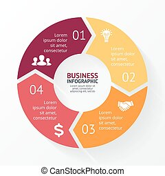 Vector circle arrows infographic, cycle diagram, graph. Presentation chart. Business concept with 4 options, parts, steps, processes.