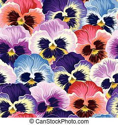 Seamless varicolored pansies - Bright and varicolored...