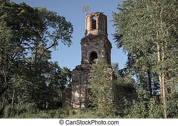 Old chapel ruins in Leningrad region, Russia