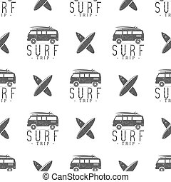 Surfing trip pattern design. Summer seamless with surfer...