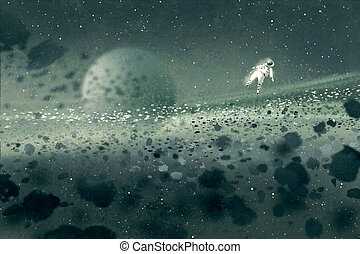 astronaut floating in asteroid field,mysterious...