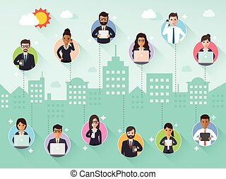 Connecting businessman and businesswoman via social network...