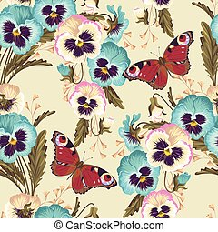 Vintage pansy seamless - Vintage pansy with buds and leaves...