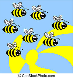 Bees. - Dig bees flies to collect pollen from flowers.Funny...