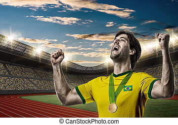 Athlete Celebrating - Brazilian Athlete Winning a golden...