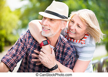 Aged couple enjoying each other - Lifelong sweetheart. Happy...