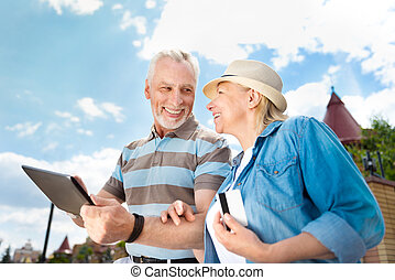 Aged couple enjoying each other - You are the end. Laughing...