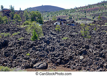 Roughing It - Idaho - Roughing it: camping in a lava flow at...