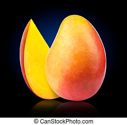 Mango with slice isolated on blue to black background, with...