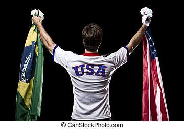 Athlete Celebrating - American Athlete Winning a golden...