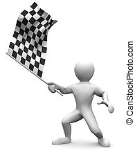 Men with checkered flag 3d