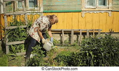 Senior woman watering flowers in her garden at home