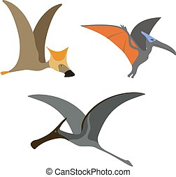 Pterodactyl dinosaur vector illustration. - Funny cute...