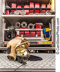 Modern Golden Fire Brigade Helmet with Hoses - Modern Golden...