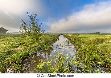 River landscape fast travelling clouds - Summer landscape of...