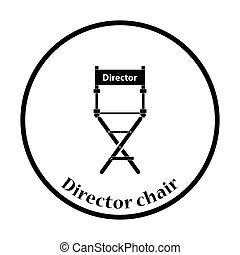 Director chair icon. Thin circle design. Vector...