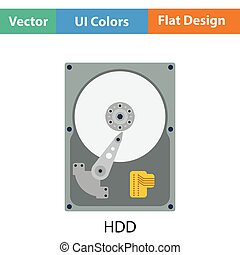 HDD icon Flat color design Vector illustration