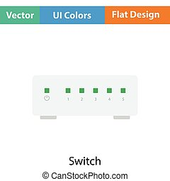 Ethernet switch icon. Flat color design. Vector...