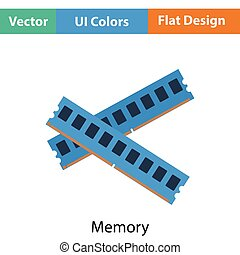 Computer memory icon Flat color design Vector illustration...