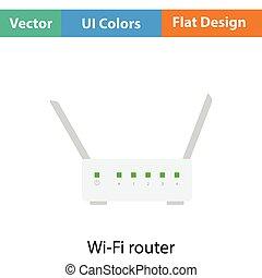 Wi-Fi router icon Flat color design Vector illustration