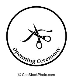 Ceremony ribbon cut icon Thin circle design Vector...