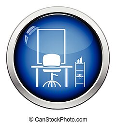 Barbershop icon. Glossy button design. Vector illustration.