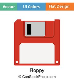 Floppy icon Flat color design Vector illustration