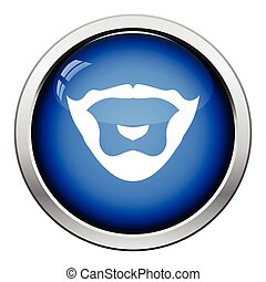 Goatee icon. Glossy button design. Vector illustration.