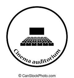 Cinema auditorium icon Thin circle design Vector...