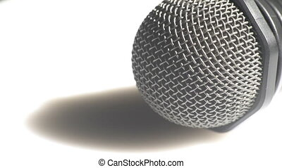 Detailed view of a microphone - Macro view of a head of a...