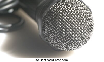 Macro view of a microphone - Detailed view of a head of a...