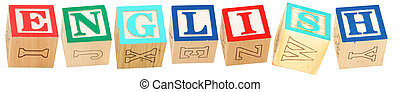 Alphabet Blocks ENGLISH - Colorful alphabet blocks spelling...