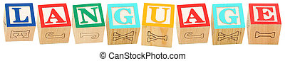 Alphabet Blocks LANGUAGE - Colorful alphabet blocks spelling...