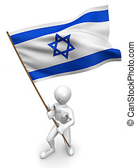 Men with flag. Israel. 3d