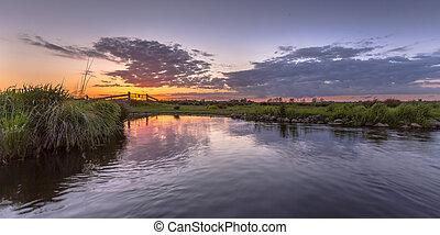 Sunset over aquatic farmland