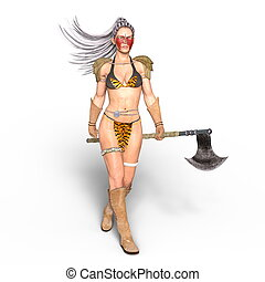 Female warrior - 3D CG rendering of a female warrior