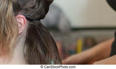 Keratin hair straightening at home - Two girls make keratin...
