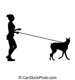 Woman and dog - Silhouette of a woman walking a dog