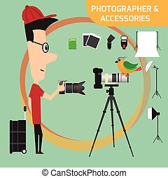 Professional photographer with camera and photo studio...