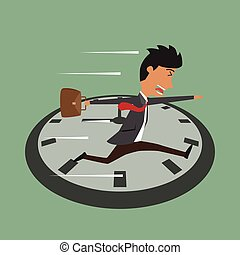 Cartoon businessman running on clock, Jumps over time, Rush...