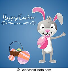 Easter bunny with easter egg. easter vector illustration.