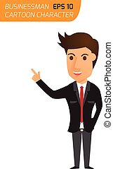 businessman in a suit during presentation. vector illustration.