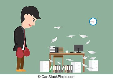 Cartoon businessman with boxing gloves looking at his desk in office and battle with his desk. vector illustration.
