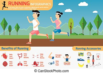 running infographics. benefits of running exercise with...